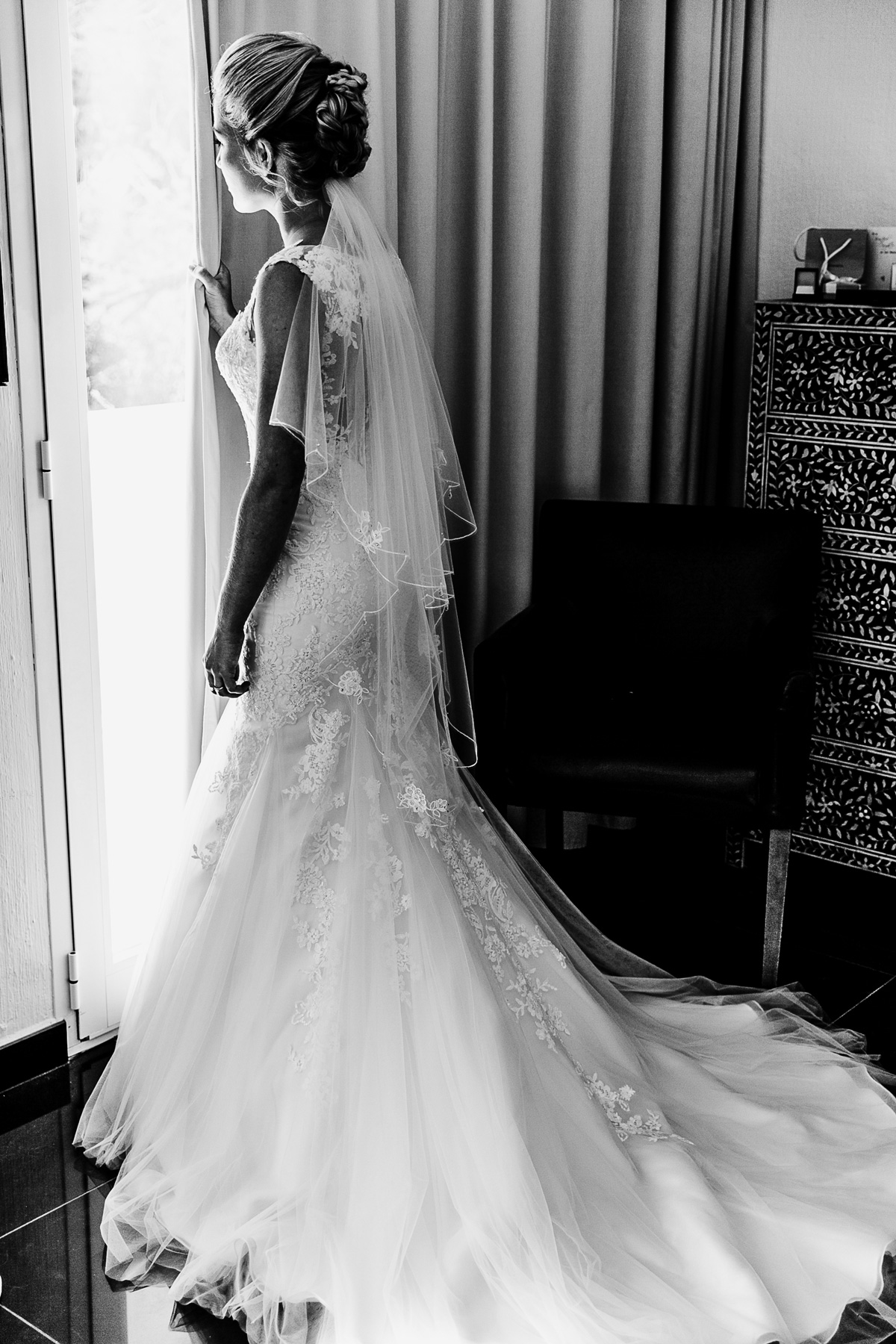 Bride looking out of the window